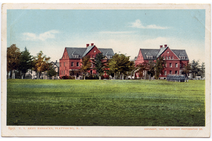 Plattsburgh US Army Barracks Vintage Postcard