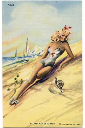 Blonde Vintage Postcard