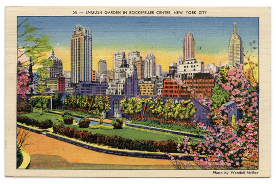 English Garden NYC Vintage Postcards