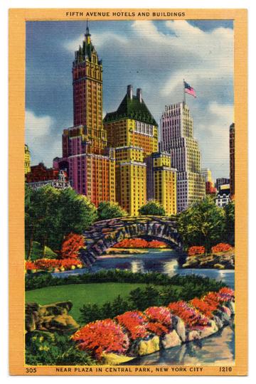 Fifth Avenue Hotels Vintage Postcard