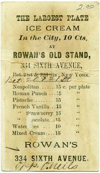 Rowans Vintage Card (back)