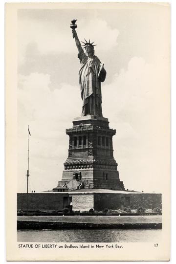 Statue of Liberty Bedloes Island Vintage Postcard