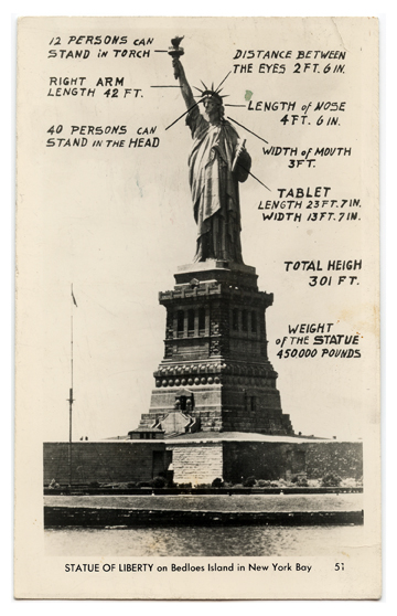 Statue of Liberty with Descriptions Vintage Postcard