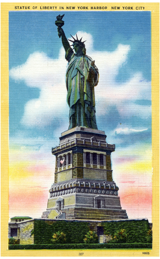 Statue of Liberty in the New York Harbor Vintage Postcard