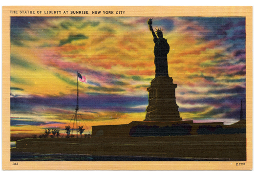 Statue of Liberty at Sunrise Vintage Postcard
