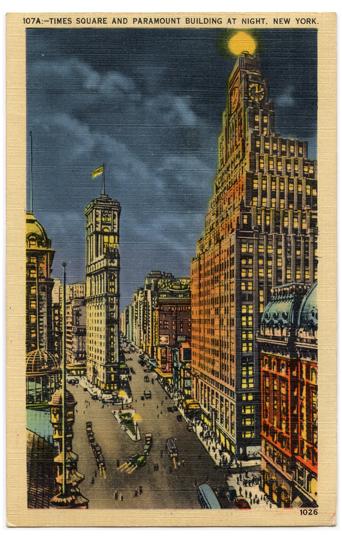 Times Square Paramont Building Vintage Postcard